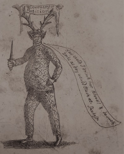 A political cartoon of an antlered figure with a banner labelled Coventry Petition across the antlers