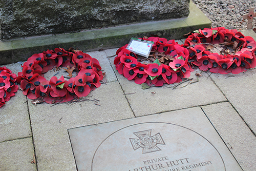 Poppies in wreaths laid at the Memorial Park
