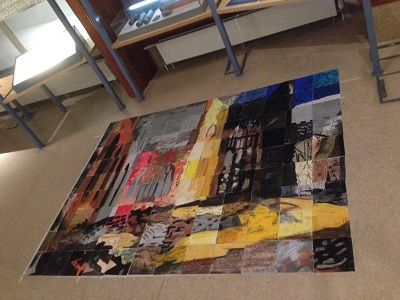 a large floor collage