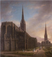 St Michael's (in foreground) and Holy Trinity in the year Mary Ann left Coventry. Oil painting by David Gee, 1849