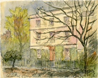 George Eliot's school in Coventry. Watercolour by Sydney Bunney, 1918