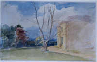 Rosehill, Cara and Charles Bray's house on the Radford Road; the building no longer exists. Watercolour by Cara Bray, 1842.