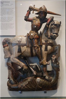 This painted wooden figure of St George and the Dragon was formerly in St George's Chapel on the city walls at Gosford Street Gate. It is a rare survival of an English image of a saint carved in wood.