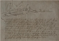 Detail of the Queen Elizabeth letter