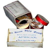 Shell boxes. Made by Dr Elliott from 1876 to 1878 to house his collection of shells. These boxes are made from playing and order cards supplied on the Royal Mail steam ship 'African'.