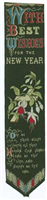 Silk bookmark, With Best Wishes for the New Year. This woven silk bookmark was made by Thomas Stevens of Coventry.