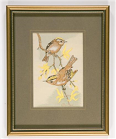 Silk picture, Gold Crest. This is a woven silk picture in its original frame. It was woven by J and J Cash Ltd in the 1970s or early 1980s.