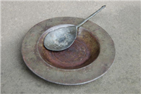 Tudor pewter plate and spoon.