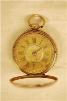 Pocket watch. This watch was made by Vale and Rotherham in Coventry in 1819. It is engraved with a bust of Princess Charlotte, the daughter of George IV.